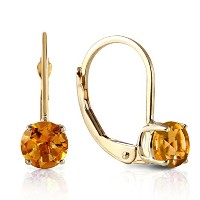 K14 Yellow Gold Leverback Earrings with Citrine