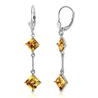 K14 White Gold Leverback Earrings with Citrines