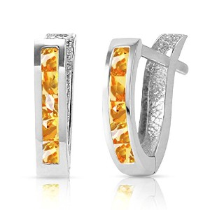 K14 White Gold Oval Huggie Earrings with Citrines