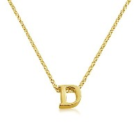 Initial Letter D Personalized Serif Font Pendant Necklace (gold-plated-silver, 18 Inches)