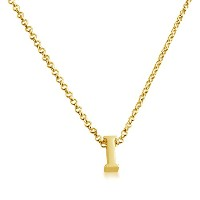 Initial Letter I Personalized Serif Font Pendant Necklace (gold-plated-silver, 18 Inches)
