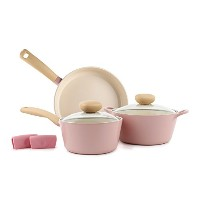 Neoflameレトロテフロン加工のセラミック5-piece Cookware Set inピンク
