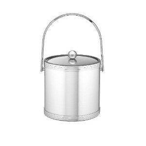 Kraftware Brushed Chrome Ice Bucket with Triband Accents and Track Handle - 3 Quart [並行輸入品]