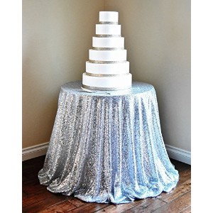 Silver Sequin tablecloth 72 Round Sequin Tablecloth Sparkly Tablecloth christmas Tablecloth by B...