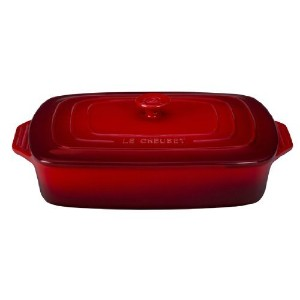 Le Creuset Stoneware Covered Rectangular Casserole, 12.5 by 8.5-Inch, Cerise (Cherry Red) [並行輸入品]