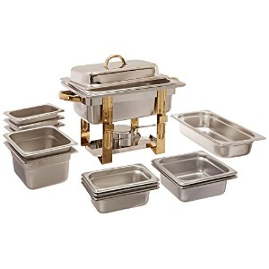 Alegacy AL390GA Stainless Steel Original 6-in-1 Chafer with Additional Inset Pans, with Gold...