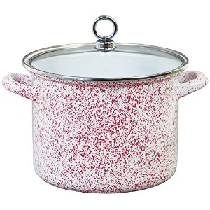 Calypso Basics 78960 Enamel Stock Pot, 8 quart, Red [並行輸入品]