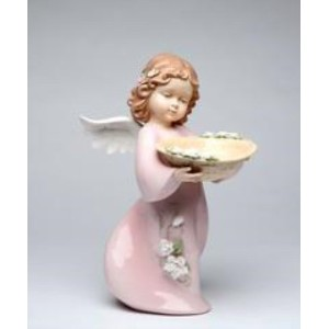 Cosmos 10383 Fine Porcelain Angel with Basket Figurine, 12-1/2-Inch [並行輸入品]