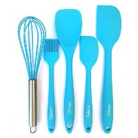 Cookwizard 5-Piece Baking Set - Heat Resistant Silicone Kitchen Utensils with Spatula Spoon Egg...