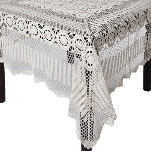 SARO LIFESTYLE 869 Crochet Tablecloths, 72 by 144-Inch, Oblong, White by SARO LIFESTYLE [並行輸入品]