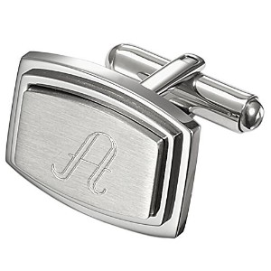 VisolカプリPersonalizedステンレススチールRectangular Cufflinks with Engraved Letter A