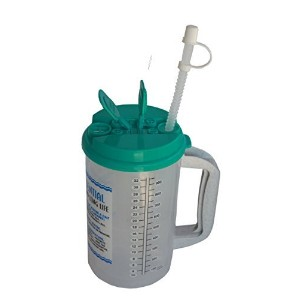 32 Oz W.E. Insulated Cold Drink Mug with Teal Lid and straw cap by Whirley Insulated Hospital Mug