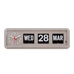 Homeloo x Twemco German Quartz Retro Modern Calendar Wall Flip Clock BQ 38 (Gray) by twemco [並行輸入品]