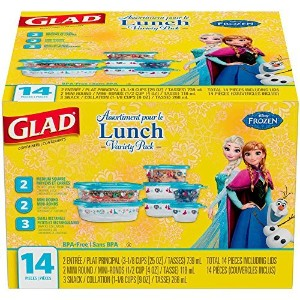 Extra Sturdy Tight Sealing Microwave Safe Glad Disney Frozen Food Storage Containers, Variety Pack,...