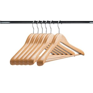 a1ハンガー天然木製ハンガー( Set of 6 ) Extra Thick Clothes Hangers forコートハンガーとスーツハンガー