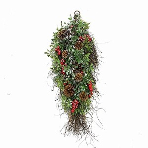 "28"" Glittered Artificial Boxwood, Pine Cone and Red Berry Christmas Teardrop Swag- Unlit"