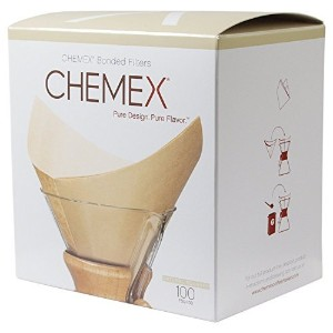 Chemex FSU-100 Natural Bonded Pre-folded Squares Coffee Filters (100 Filters) with Free FOXGALLERY...
