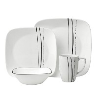 Corelle 16 PieceカスケードLines正方形食器セット、ホワイトby Corelle