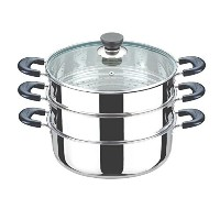 Laketian Stainless Steel 6.9 Quart 3-Tier Chinese Steamer by lake tian