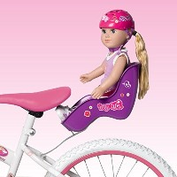 """Doll Bicycle Seat - """"My Life As"""" Bike Seat Set - Purple Seat and Pink Helmet (Fits American Girl..."""