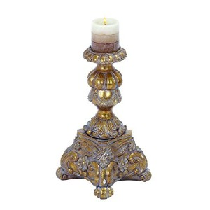 Benzara Candle Holder Finished, Gold with Grey Antique Wash [並行輸入品]