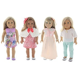 "Holiday 4 Outfit Package, Doll Clothes Set, fits American Girl Dolls, or an 18"" Doll - by PZAS Toys"