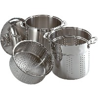 All-Clad E796S364 Specialty Stainless Steel Dishwasher Safe 12-Quart Multi Cooker Cookware Set, 3...