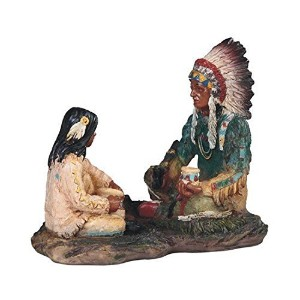StealStreet SS-G-11722 Native American Indian Warrior Family Sitting Statue Figurine, 5.5' [並行輸入品]