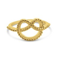 Textured Love Knot Ring in 18k Gold Plated Silver or Polished 925 Sterling Silver (6, gold-plated...