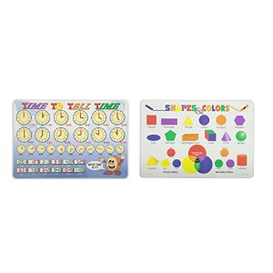 Painless Learning Time to Tell時間と図形と色教育Place Mat–2Pieceバンドル
