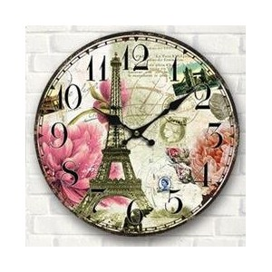 "LOVE(TM)12inch Wooden Clock Shabby Chic Retro Arabic Numeral""Effel Tower "" Pattern Wooden Wall..."