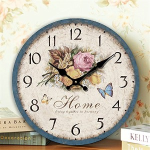 LOVE(TM)12 Inch Wall Clock Vintage Shabby Chic Animals and flowers Style Wall Clock Home Bedroom...