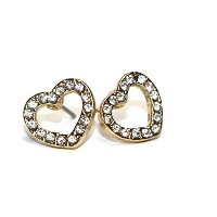 Hypoallergenic Surgical Steel Rhodium Plated Heart Earrings With Cubic Zirconia Stones (Yellow Gold...