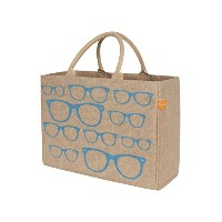 KAF Home Jute Market Tote Bag with Glasses Print, Durable Handle, Reinforced Bottom and Interior...