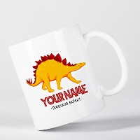 Customized Stegosaurus Dinosaur Expert Yellow Children Kids Personalised マグカップ