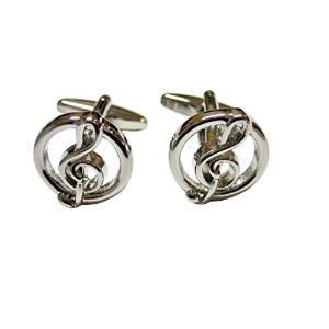 Silver TonedラウンドTreble Music Note Cufflinks