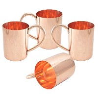 AsiaCraft Pure Copper Moscow Mule Mugs - No Lining, High Quality and Unique Set of 4