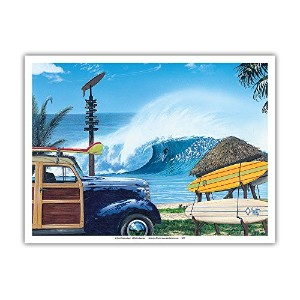 Break Time–レトロWoodie on Beach withサーフボード柄–Big Wave Surfer–From anオリジナルカラーペイントby Scott...