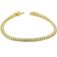 925 Sterling Silver Yellow Gold-Tone Classic White CZ Womens Tennis Bracelet