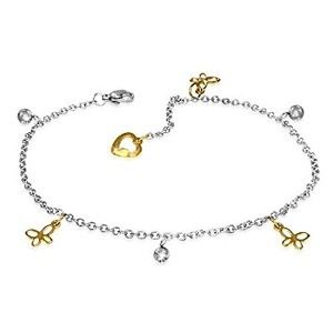 Stainless Steel Two-Tone Butterfly Adjustable Anklet Bracelet