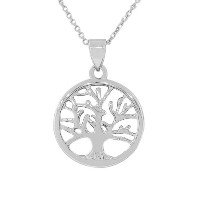 925 Sterling Silver Tree of Life Pendant Necklace with Chain