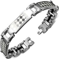 Stainless Steel Black Silver-Tone Checkerboard Mens Link Bracelet with Clasp