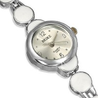 Fashion Alloy Silver-Tone White Round Dial Womens Bracelet Watch