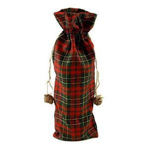 "Tartan Plaid Fabricワインバッグwith Pinecones – 14 "" H"