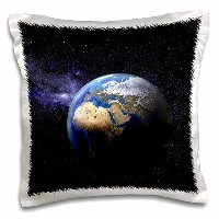 3dRose Planet Earth In Space with Many Stars - pillow Case, 16 by 16-Inch (pc_154992_1)