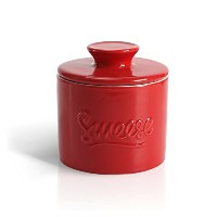 SWEESEバターKeeper Crock–Porcelain French Butter Dish レッド Butter keeper-red