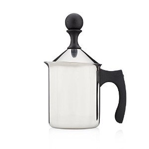 Francois et Mimi Milk and Creamer Frother Coffee Foam Pitcher with Handle and Lid, Stainless Steel,...