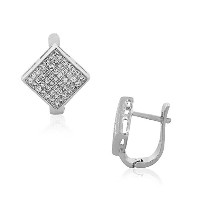 925 Sterling Silver Square White Clear CZ Latchback Hoop Huggie Earrings