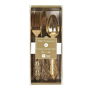 Talking Tables PPG-CUTLERY 18 Piece Porcelain Disposable Party Cutlery Set, Gold