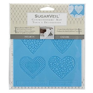 SugarVeil Silicone Heart Toppers Mat, White
